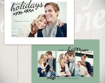 Christmas Card Template: Evergreen A - 5x7 Holiday Card Template for Photographers
