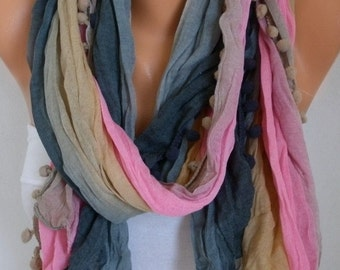Summer Ombre Pompom Scarf Teacher Gift Shawl Batik Design Cowl Scarf bridesmaid gift Gift Ideas For Her Women fashion Accessories