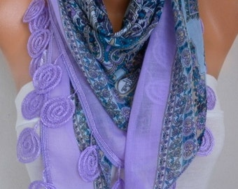 Lilac Cotton Scarf, Summer Scarf,Oversize Necklace Cowl Scarf Multicolor Gift Ideas for Her Women Fashion Accessories,Girlfriend gift