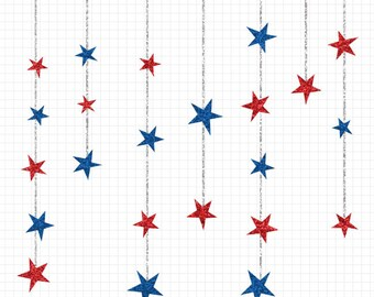 80% OFF SALE Star Clipart, Red White and Blue, Star Clip Art, Glitter Clip Art Stars, Commercial Use, Digital Download