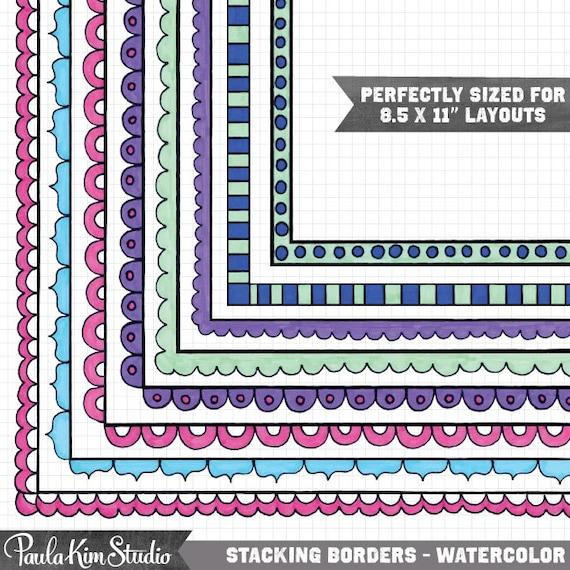 Watercolor Clipart Frame Clip Art For Teachers Stackable Borders Doodle Clipart Frames