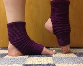 Yoga Socks in Acrylic Wool Blend in Aubergine Eggplant Purple -- for Yoga, Dance, Pilates, Pedicures