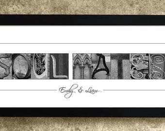 1st Anniversary Gift, Personalized Wedding Gift, Soul Mate Gift, Gift for Couples, Anniversary Gift, Alphabet Art Photos, Gift for Her