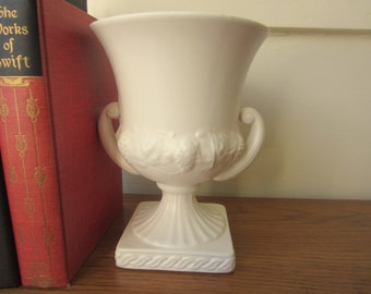 1962 cream ceramic vase.  1962 Inaraco cream trophy vase.  1960s vase