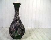 Vintage Matte Black Ceramic Studio Vase - Retro Mid Century Home Decor Accent Piece - Clay Ivory Interior Slate Paint Exterior Leaf Pottery