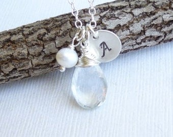 Sterling Silver Birthstone Initial Pearl Trio Necklace -- White Topaz Shown -- Personalized Bridesmaids