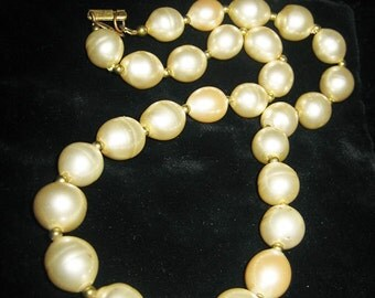 Vintage Miriam Haskell Opera Length Baroque Glass Pearl Necklace