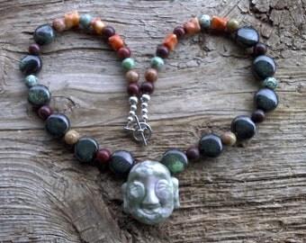 Peace jade  buddha,ceramic,misc stone beaded necklace 19 inch
