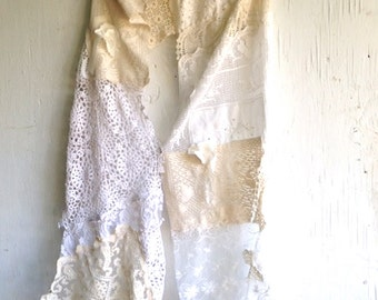 CUSTOM EXAMPLE summer rustic white ecru bride wedding shabby farm vintage lace tattered shawl