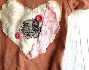 funky summer mocha soft brown shower gift hand dyed heart vintage linen buttons pink girl rustic onesie prairie baby ooak baby