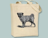 Vintage Pug Dog illustration on Canvas Tote -- Selection of  sizes available