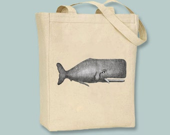 Ancient Dutch Whale Engraving NATURAL or BLACK Canvas Tote - Selection of sizes available