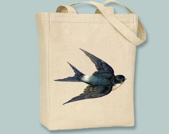 Beautiful Vintage Swallow Canvas Tote -- Selection of sizes available