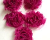 """Fabric - 5 Pieces 2.5"""" Fuschia Shabby Chiffon Flowers Gocharmz Supply"""