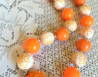 CLOSING SHOP!!! Orange Chunky Beaded Necklace