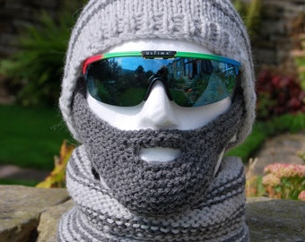 PDF Knitting Pattern for a Beardy Weirdy Beanie Hat, Detachable Beard and Neck Warmer