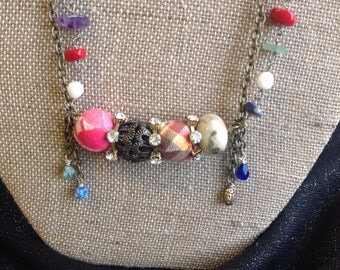 Fabric Covered Beads and Stone Necklace