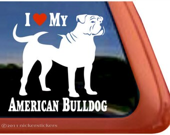 "I Love My American Bulldog | DC299HEA | High Quality Adhesive Vinyl Window Decal Sticker - 5"" tall x 5"" wide"