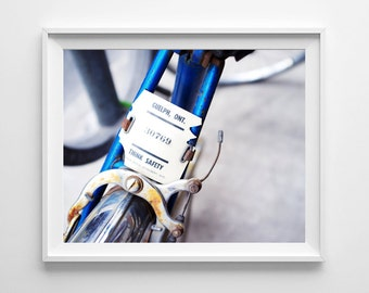 Blue Bicycle Art - Guelph Ontario Bike Plate - Canadian Bike Art, Gifts for Cyclists - Small and Oversized Art Prints Available
