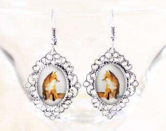 Sitting Fox Earrings - Fox Profile, Silver Jewelry, Dangle Earrings