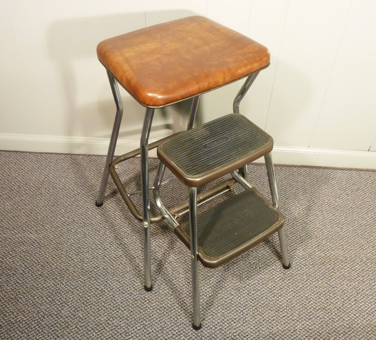 Retro 50s vintage step stool kitchen chair cosco for Stool chair