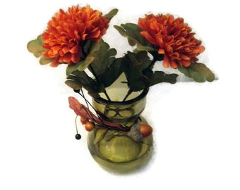 Fall Floral Arrangement in a Mini Olive Green Vase With 2 Orange Fall Mums