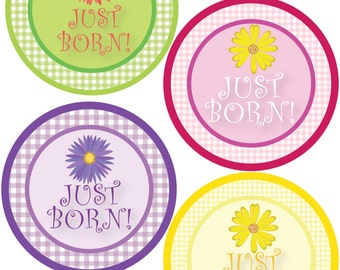 ADD ON Just Born Stickers for Baby, Just Born Stickers  - Gingham & Flowers - Just Born Stickers -Baby Shower Gift - Baby