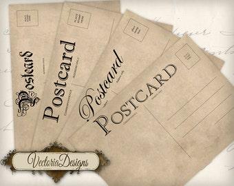 Vintage Postcards 5 x 3.5 inch printable images instant download digital collage sheet VD0491