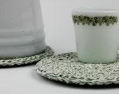 Trivet-Hot Pad-Pot Holder Sage Green Twine Crochet Cotton Set of 2