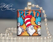 The Cat In The Hat #4 (Dr. Seuss)Pendant from Scrabble® tiles. Scrabble® tile letter. Scrabble® necklace. Gift Present