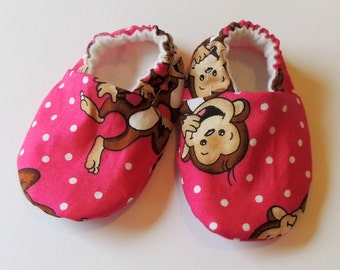 Pink Crib Shoes - Infant sizes - Laughing Monkey - New Baby Girl Gift