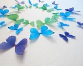 3D Wall Butterflies Cool Color Morphos- Set of 30