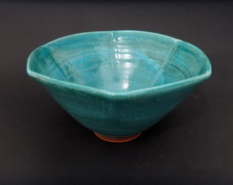 Turquoise Pottery Serving Bowl - Altered Terracotta Vessel