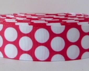 Fuchsia Pink 22mm Polka Dot Grosgrain Ribbon