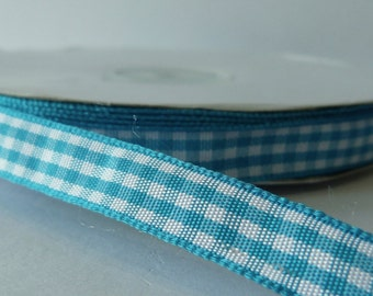 Turquoise 9mm Gingham Ribbon