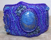 Lapis bead embroidered cuff bracelet, bead embroidery bracelet, OOAK, handmade bracelet, cuff bracelet