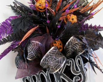 Halloween Wreath, Fall Wreath, Elegant Halloween Wreath, Fall Designer Wreath, Trick or Treat, Pumpkin, Halloween Decoration