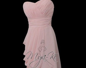 Blush pink strapless pleated short Bridesmaid dress (MKBM04)