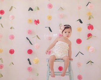 Pom Pom Vines-  pom pom garland // flower garland backdrop // photo booth backdrop // Rifle Paper Co. Inspired // whimsical party decoration