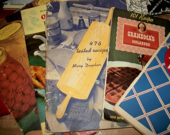 Cookbook pamphlets 1940's Kerr Canning, Molasses, Mary Dunbar, etc. Lot of five.