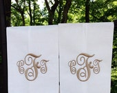Monogram  Set of 2 Hand Towels Linen Hemstitch Guest Towel Initial Personalized Any Color Letter Great Hostess Bridesmaid Wedding Gift