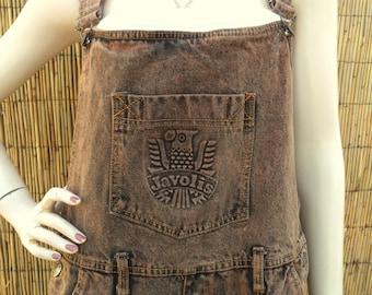 Vintage 80s Javolis brown Acid washed Denim Overalls  - Sz Large