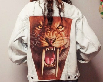 Huge LION on the Back of a Vintage LEVIS  Denim Vest -  Studded Mens  Medium -----Womens  Large
