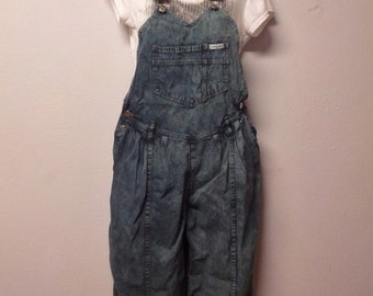 Vintage 80's  Hand dyed Olive Military Green  Denim  Overalls  -   Sz Small