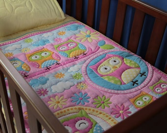 Quilt Baby Yellow Owls, Owls & More Owls and Pillow Case
