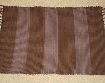 Handwoven Rag Rug - Chocolate Brown Flannel in a striped pattern - 37 inches....(#33)