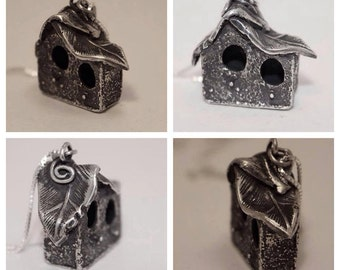 Sterling handmade birdhouse necklace pendant