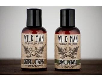 SHAVING Gift Set Wild Man Men's Gift Basket - Shaving Soap and After Shave