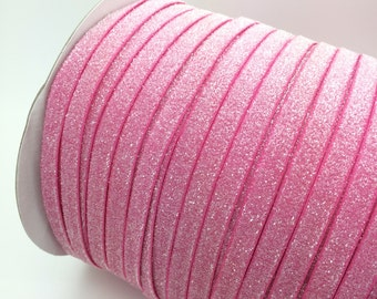 "Frosted Glitter Elastic Pink 3/8"" Glitter elastic No flake stretch Glitter elastic trim skinny  baby headband elastic 3, 5 or 10 yards"