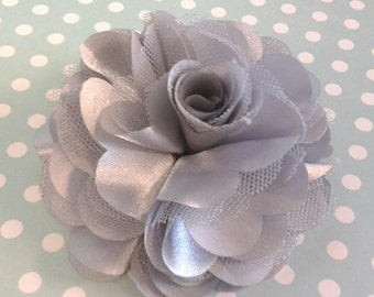 Fabric hair flower  Silver Gray - 3'' Satin mesh silk fabric flower - choose flat back or with hair clip - brooch pin or shoe clip